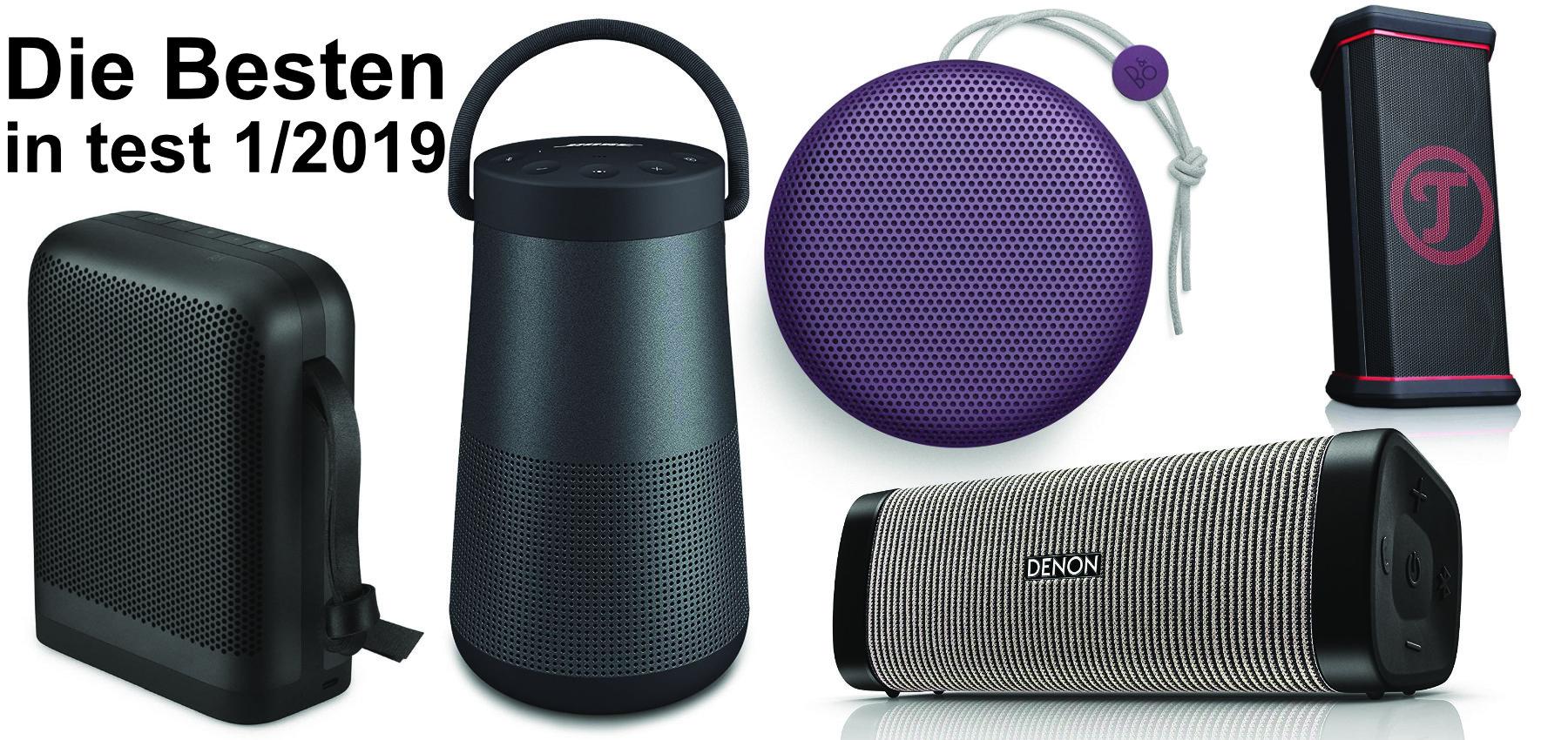 Das sind die fünf besten Bluetooth-Lautsprecher laut Stiftung Warentest im test-Magazin 1 / 2019. Produktbilder: Amazon